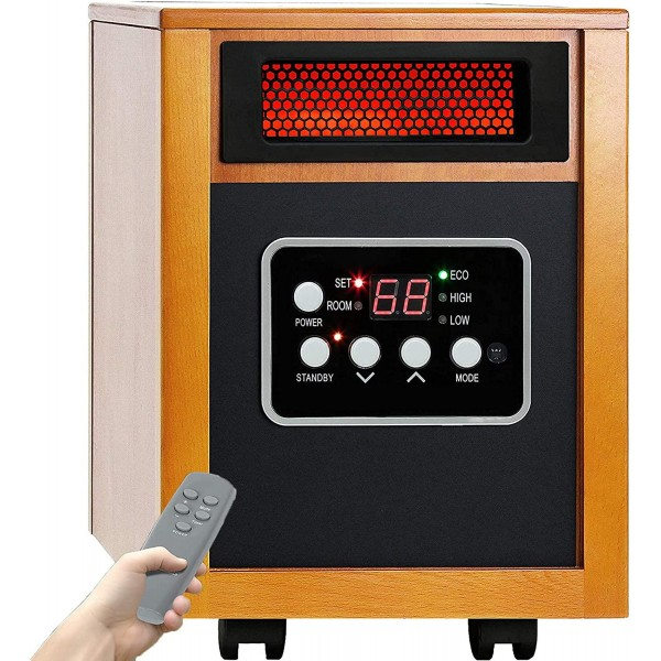 1500W Infrared Heater, Portable Space Heater with Thermostat and Remote Control