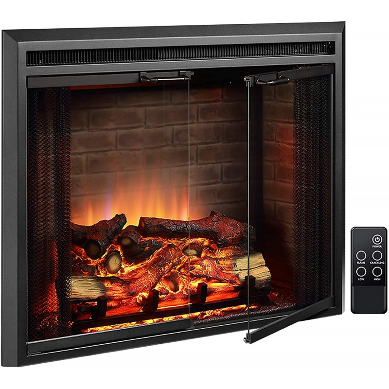 PuraFlame Klaus Electric Fireplace Insert with Fire Crackling Sound, Glass Door and Mesh Screen, 750/1500W, Black, 33 1/16 Inches Wide, 25 9/16 Inches High