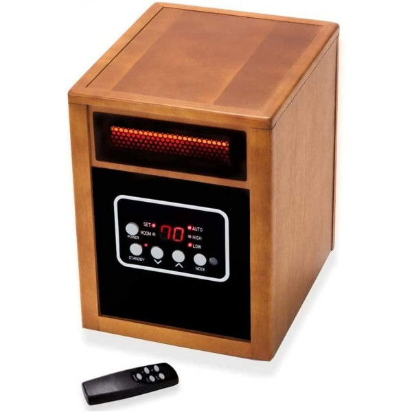 1500W Portable Space Heater, Electric Heater with Adjustable Thermostat, Remote Control, 12-Hrs Timer, Overheat & Tip-Over Protection for Indoor Use.