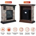 MFSTUDIO Electric Fireplace Stove, Portable Freestanding Indoor Space Heater with 3D Log Flame, Wood and Stone Like Mantel