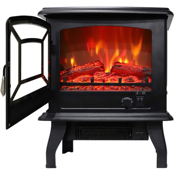 17 inch 1400w Freestanding Fireplace Fake Wood/Single Color/Heating Wire/A Rocker Flame Switch Button/a Rocker Heating Switch Button/a Temperature Control Knob with NTC/Black