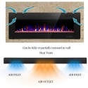 R.W.FLAME Electric Fireplace 50 inch Recessed and Wall Mounted,The Thinnest FireplaceLow Noise , Fit for 2 x 4 and 2 x 6 Stud, Remote Control with Timer,Touch Screen,Adjustable Flame Colors and Speed